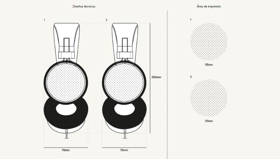 Plantilla áreas de impresión auriculares personalizados