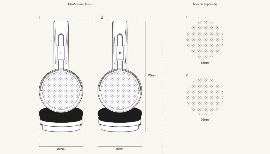 Plantillaáreas de impresión auriculares Flip
