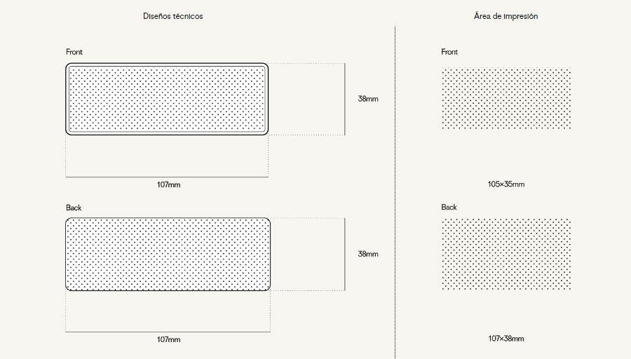 Plantilla-Tile Power bank personalizado tile zonas de impresión