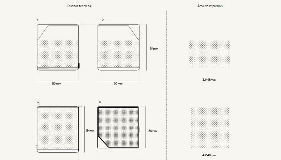 Plantilla áreas de impresión altavoz Cube
