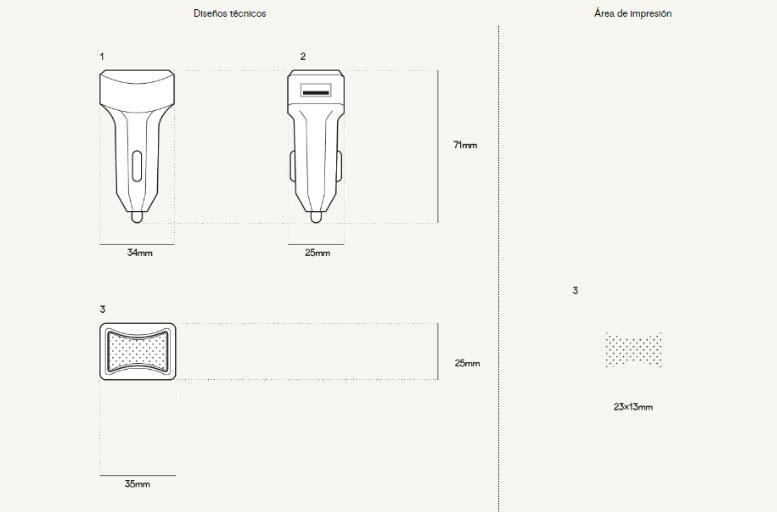 Plantillla impresión Colores Cargador Coche USB Personalizado Stretch