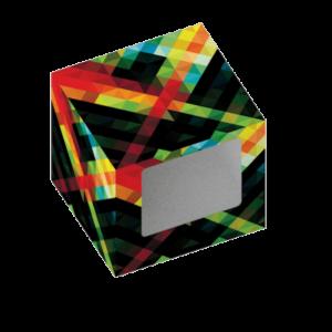 Envase sfera de cartulina cubo diseñado a medida para contener el producto, personalizable con su propio logotipo o gráfico