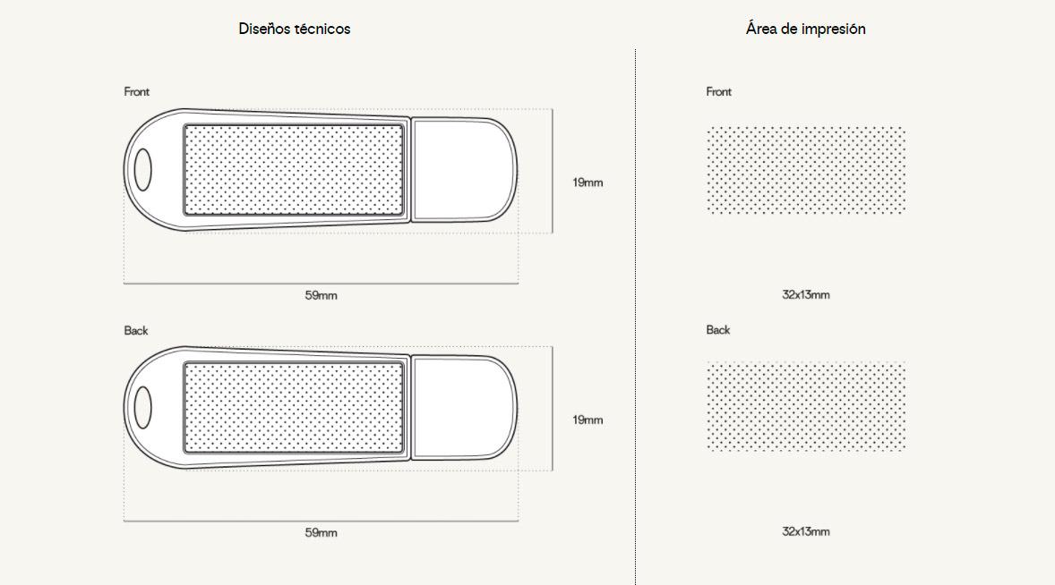 pendrive personalizado plantilla áreas de impresión todo en un o all in